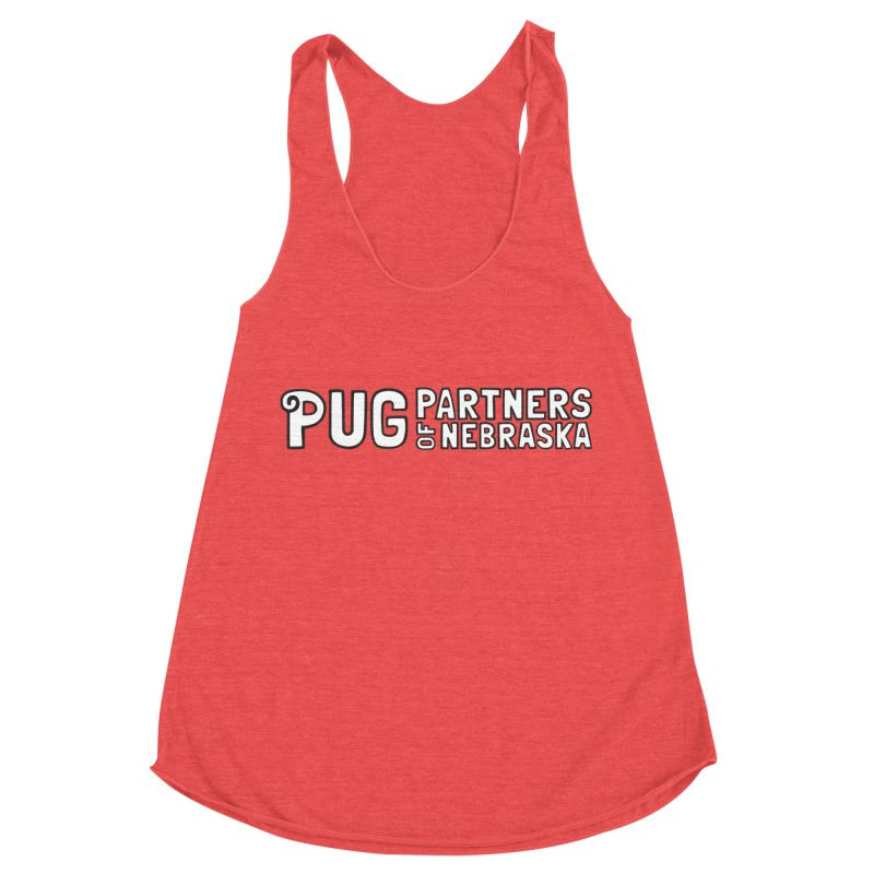 Classic White Logo Women's Racerback Triblend Tank by Pug Partners of Nebraska
