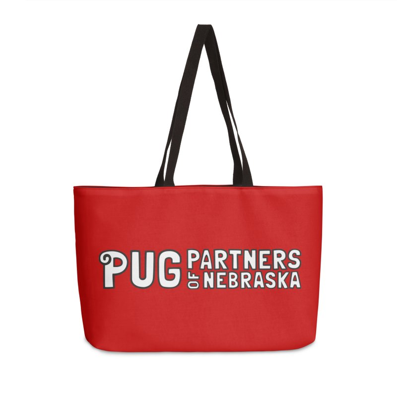 Classic White Logo Accessories Weekender Bag Bag by Pug Partners of Nebraska