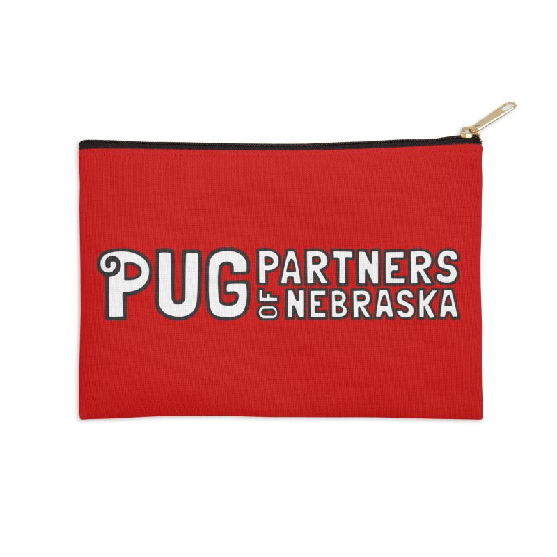 Classic White Logo Accessories Zip Pouch by Pug Partners of Nebraska