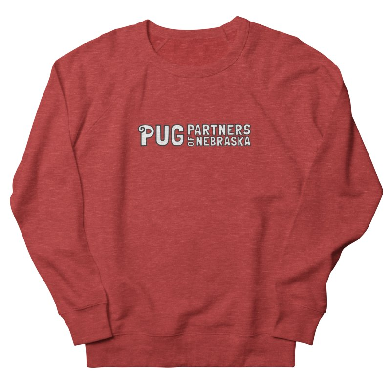 Classic White Logo Women's French Terry Sweatshirt by Pug Partners of Nebraska