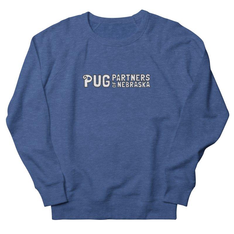 Classic White Logo Men's French Terry Sweatshirt by Pug Partners of Nebraska