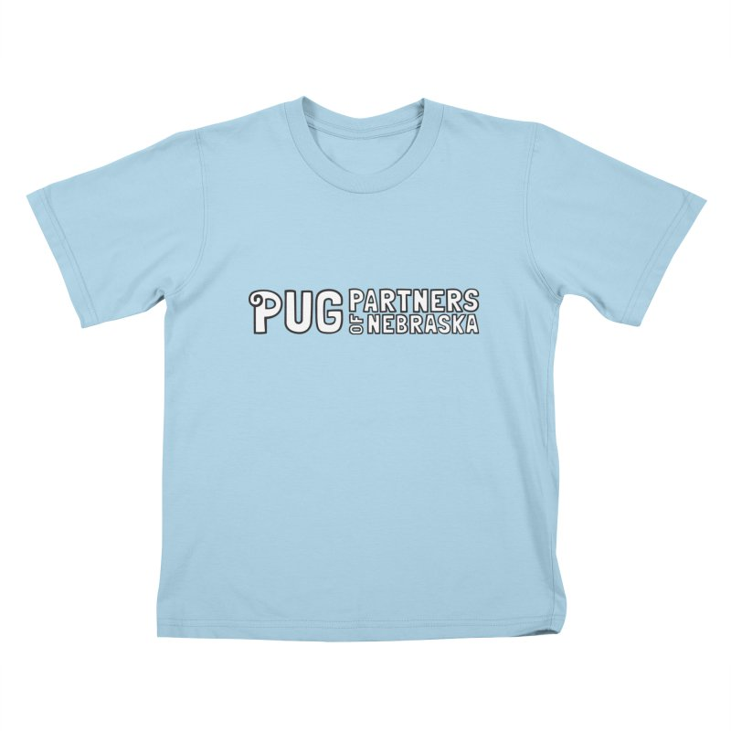 Classic White Logo Kids T-Shirt by Pug Partners of Nebraska