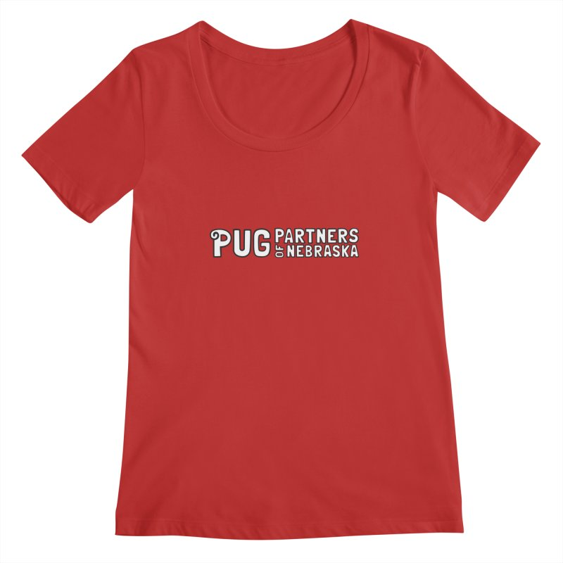 Classic White Logo Women's Scoop Neck by Pug Partners of Nebraska