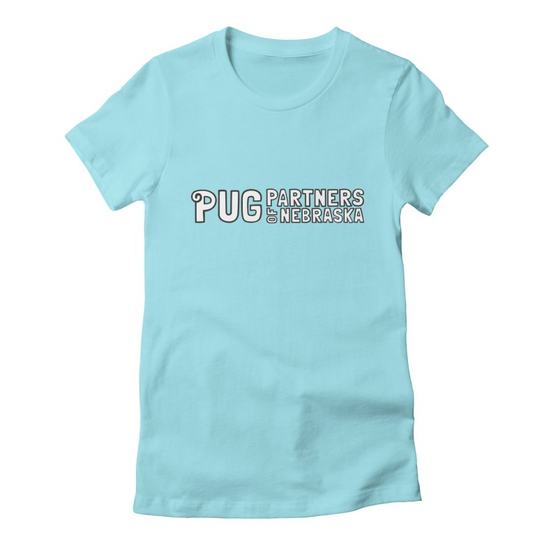Classic White Logo Women's Fitted T-Shirt by Pug Partners of Nebraska