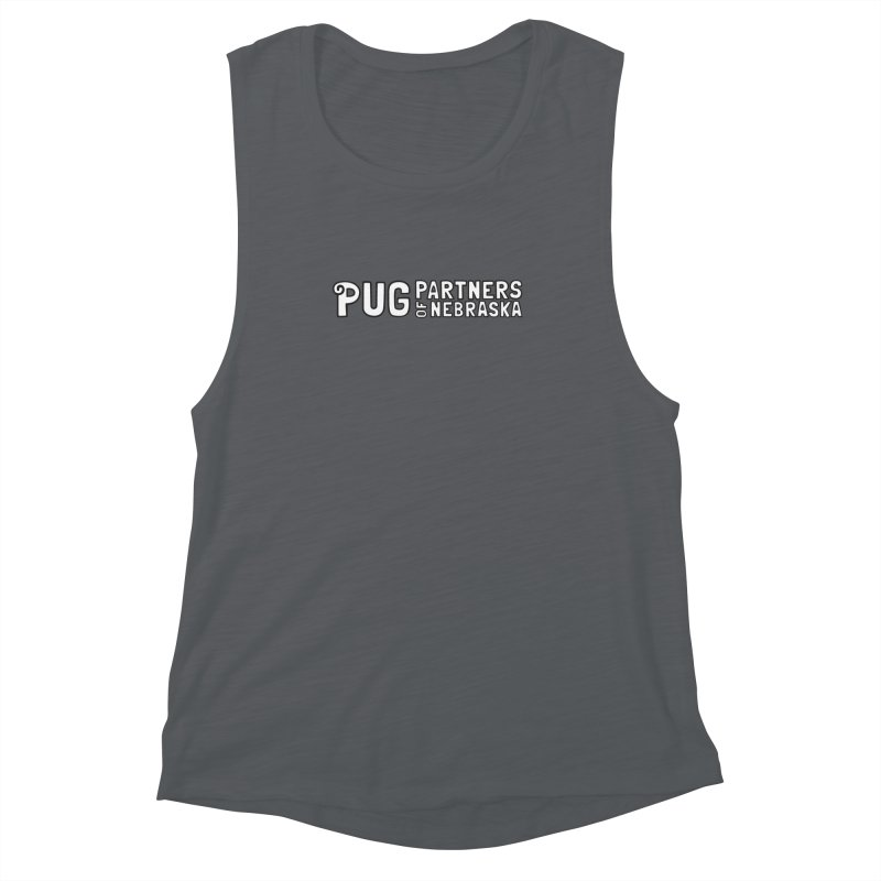 Classic White Logo Women's Muscle Tank by Pug Partners of Nebraska