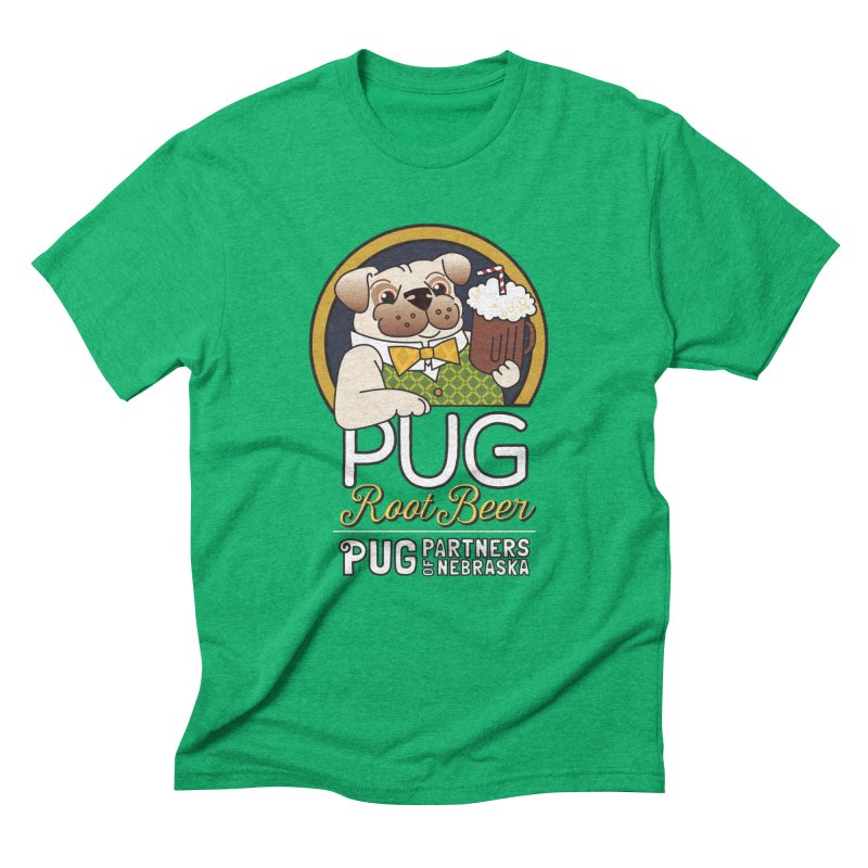 Pug Root Beer - Green Men's T-Shirt by Pug Partners of Nebraska