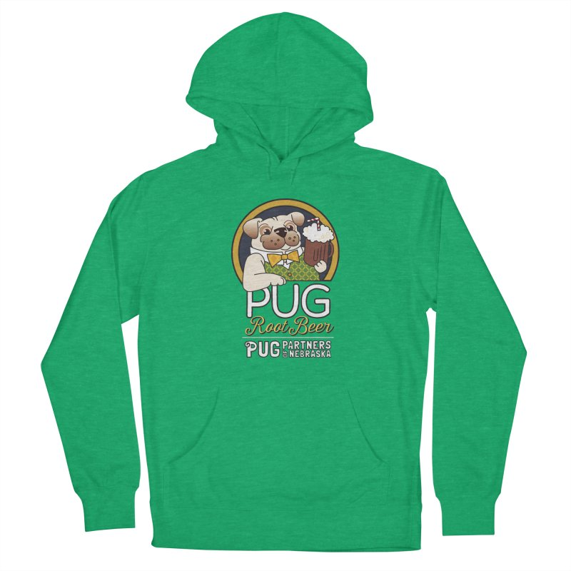 Pug Root Beer - Green Men's French Terry Pullover Hoody by Pug Partners of Nebraska