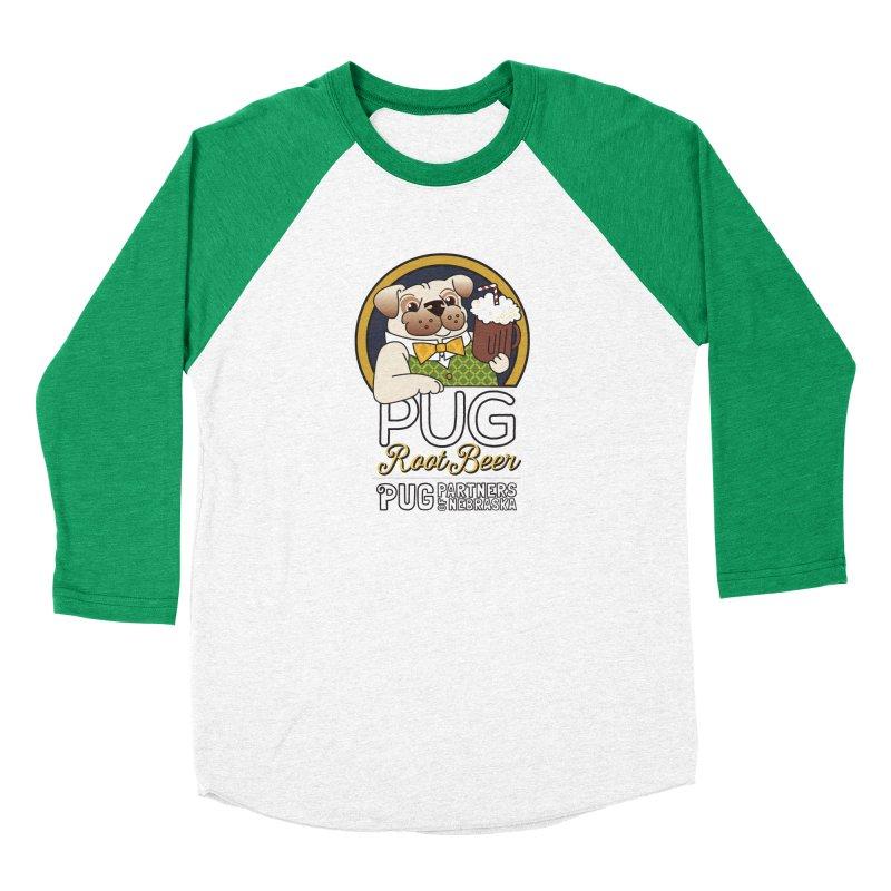 Pug Root Beer - Green Men's Baseball Triblend Longsleeve T-Shirt by Pug Partners of Nebraska