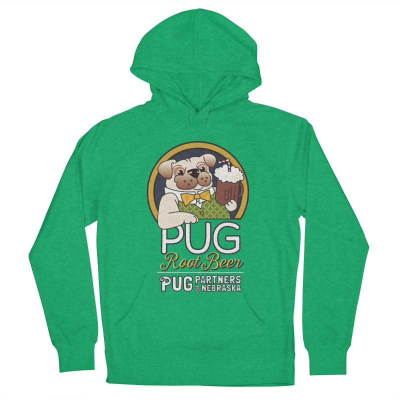 Pug Root Beer - Green Women's French Terry Pullover Hoody by Pug Partners of Nebraska