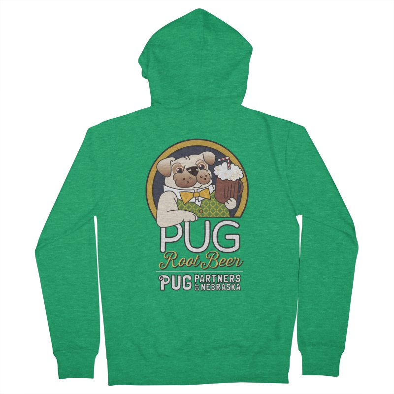Pug Root Beer - Green Men's French Terry Zip-Up Hoody by Pug Partners of Nebraska