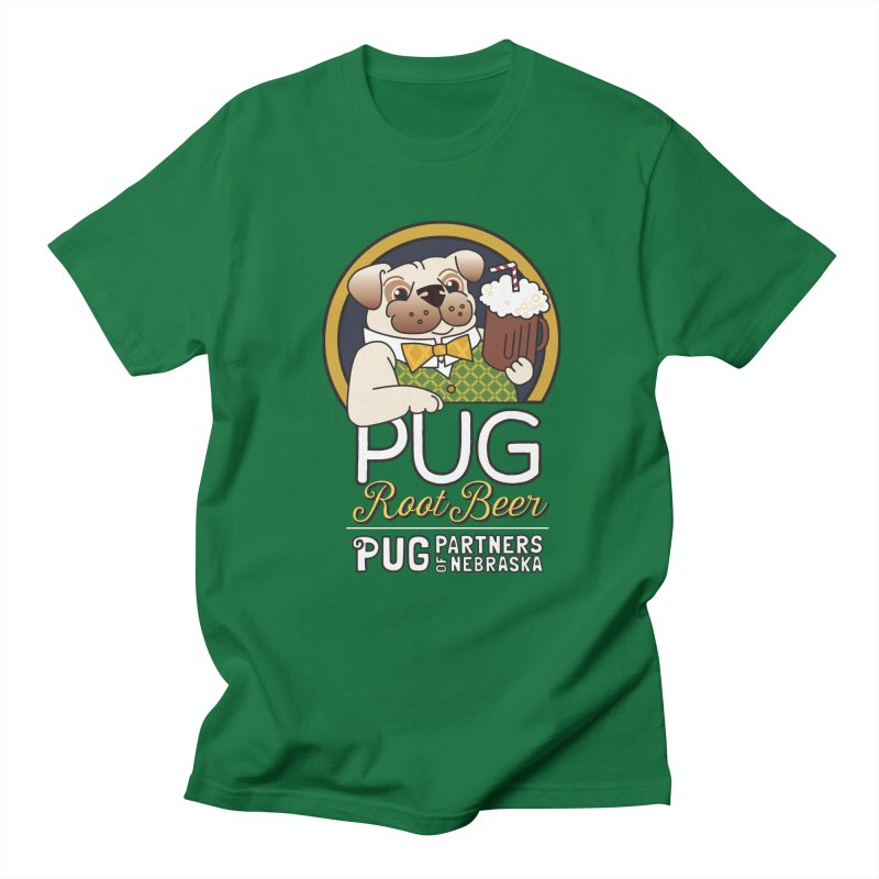 Pug Root Beer - Green Women's Regular Unisex T-Shirt by Pug Partners of Nebraska