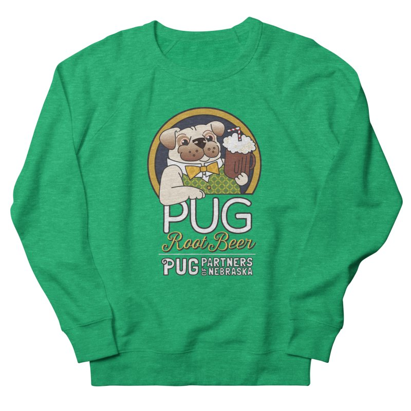 Pug Root Beer - Green Men's French Terry Sweatshirt by Pug Partners of Nebraska