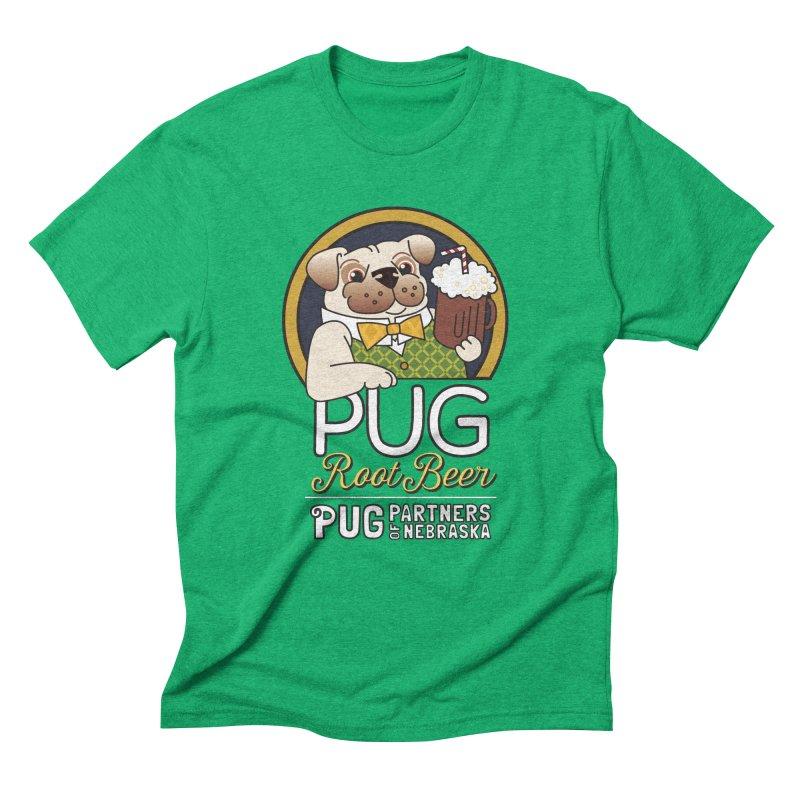 Pug Root Beer - Green Men's Triblend T-Shirt by Pug Partners of Nebraska