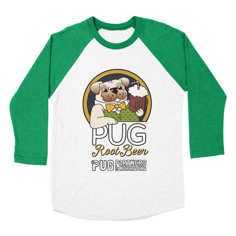 Pug Root Beer - Green Men's Baseball Triblend Longsleeve T-Shirt by Pug Partners of Nebraska