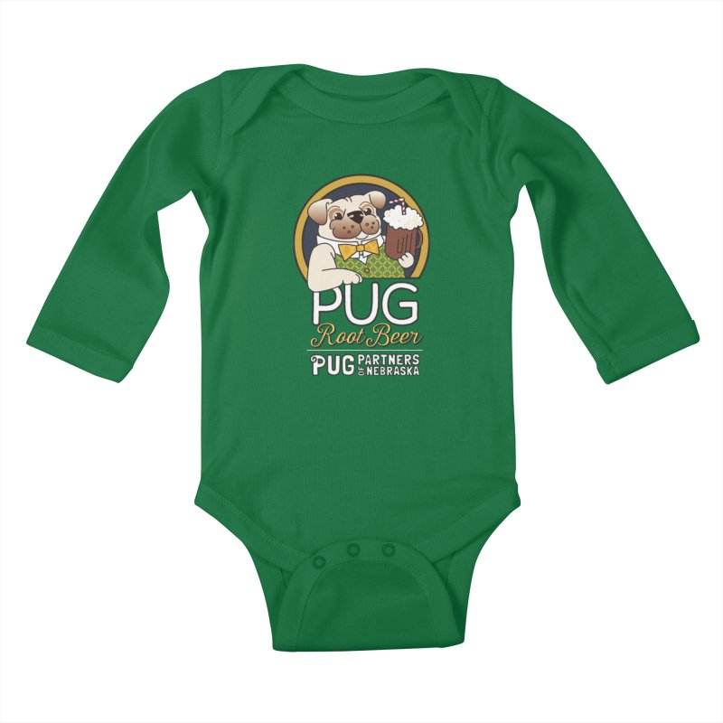 Pug Root Beer - Green Kids Baby Longsleeve Bodysuit by Pug Partners of Nebraska