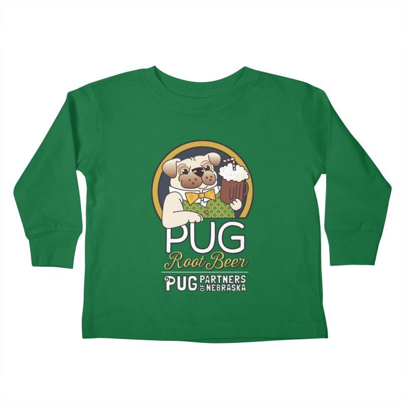 Pug Root Beer - Green Kids Toddler Longsleeve T-Shirt by Pug Partners of Nebraska