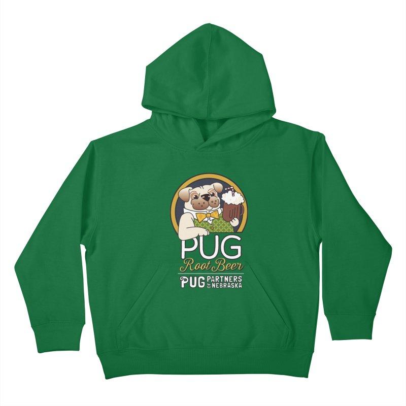 Pug Root Beer - Green Kids Pullover Hoody by Pug Partners of Nebraska