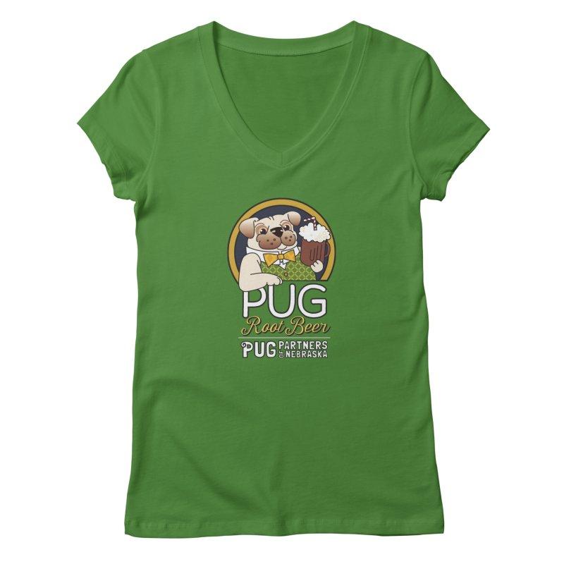 Pug Root Beer - Green Women's V-Neck by Pug Partners of Nebraska