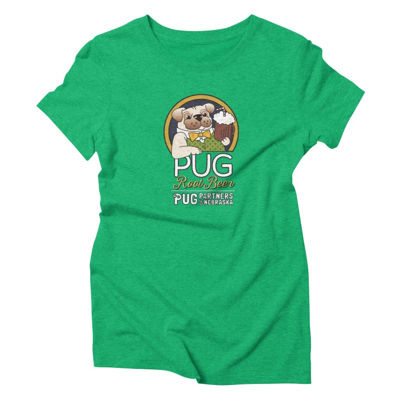 Pug Root Beer - Green Women's T-Shirt by Pug Partners of Nebraska