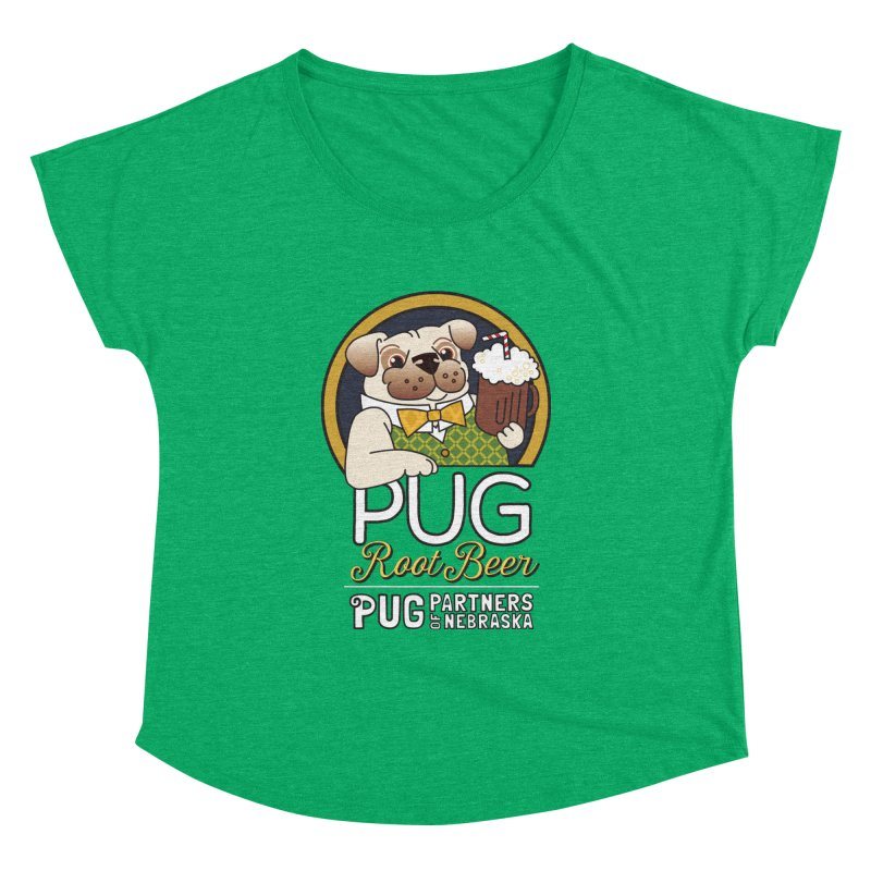 Pug Root Beer - Green Women's Dolman Scoop Neck by Pug Partners of Nebraska