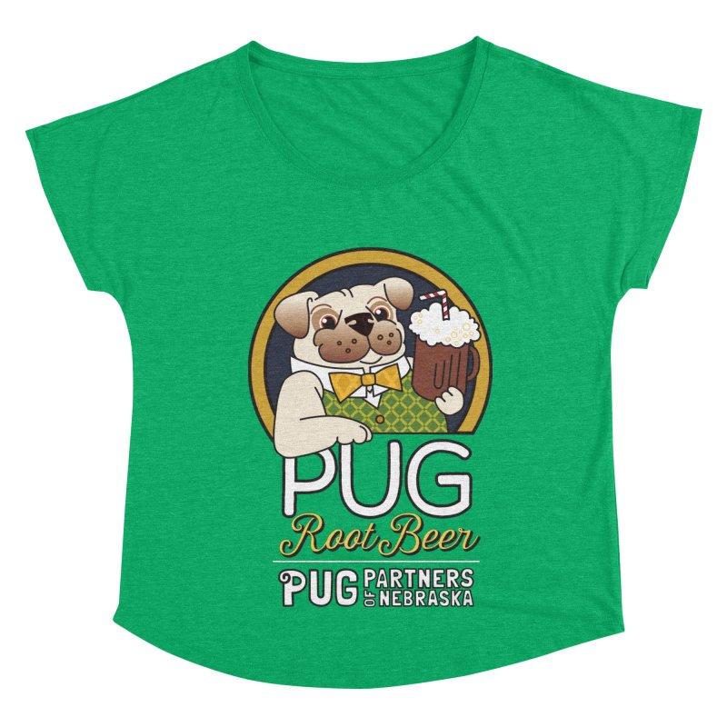Pug Root Beer - Green Women's Dolman Scoop Neck by Pug Partners of Nebraska
