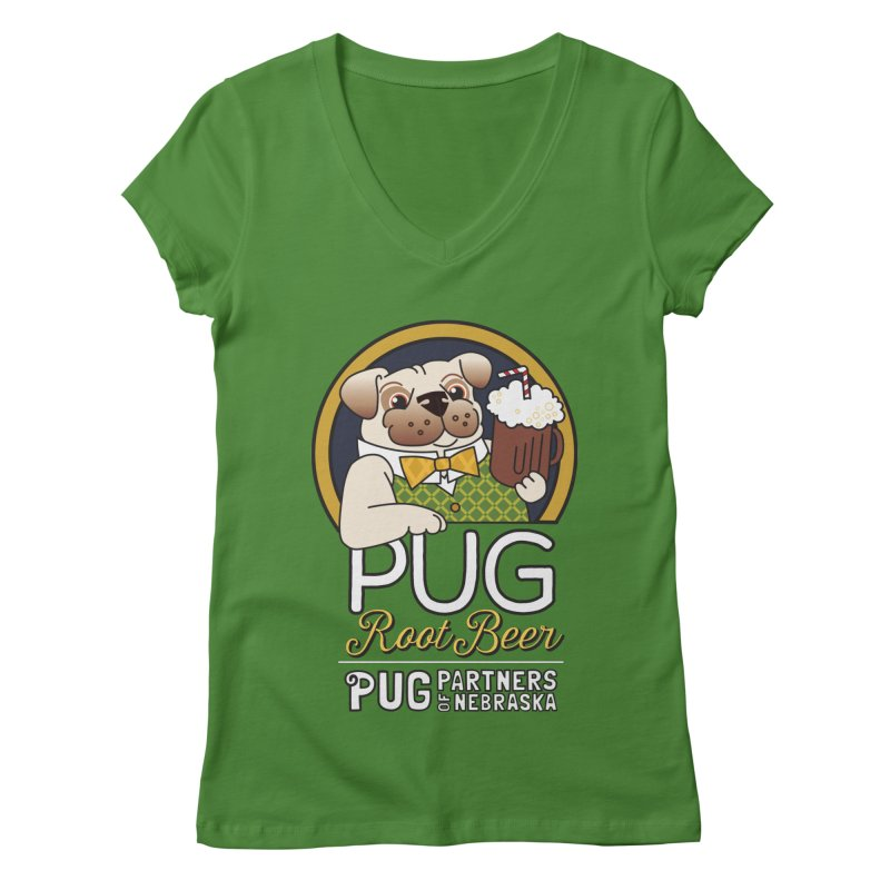 Pug Root Beer - Green Women's V-Neck by Pug Partners of Nebraska