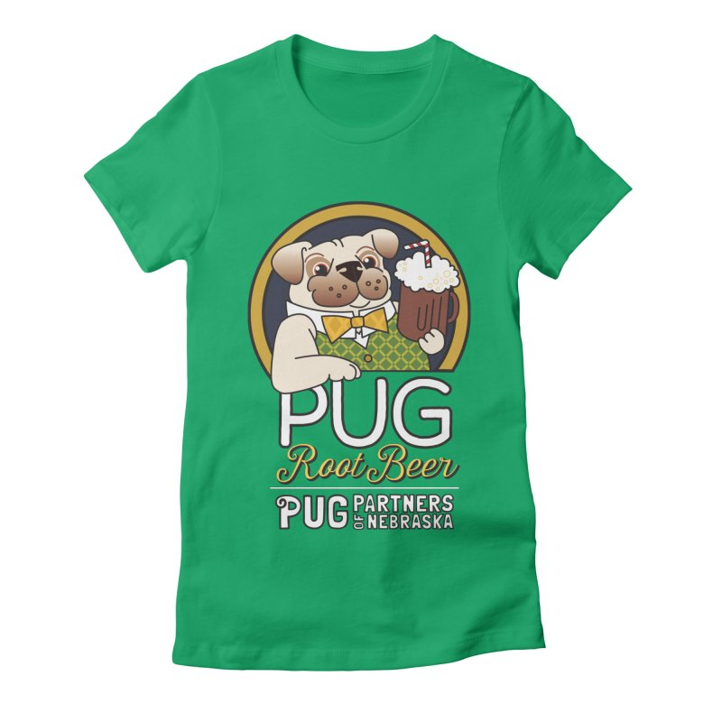 Pug Root Beer - Green Women's Fitted T-Shirt by Pug Partners of Nebraska