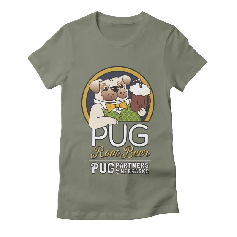 Pug Root Beer - Green Women's T-Shirt by Pug Partners of Nebraska