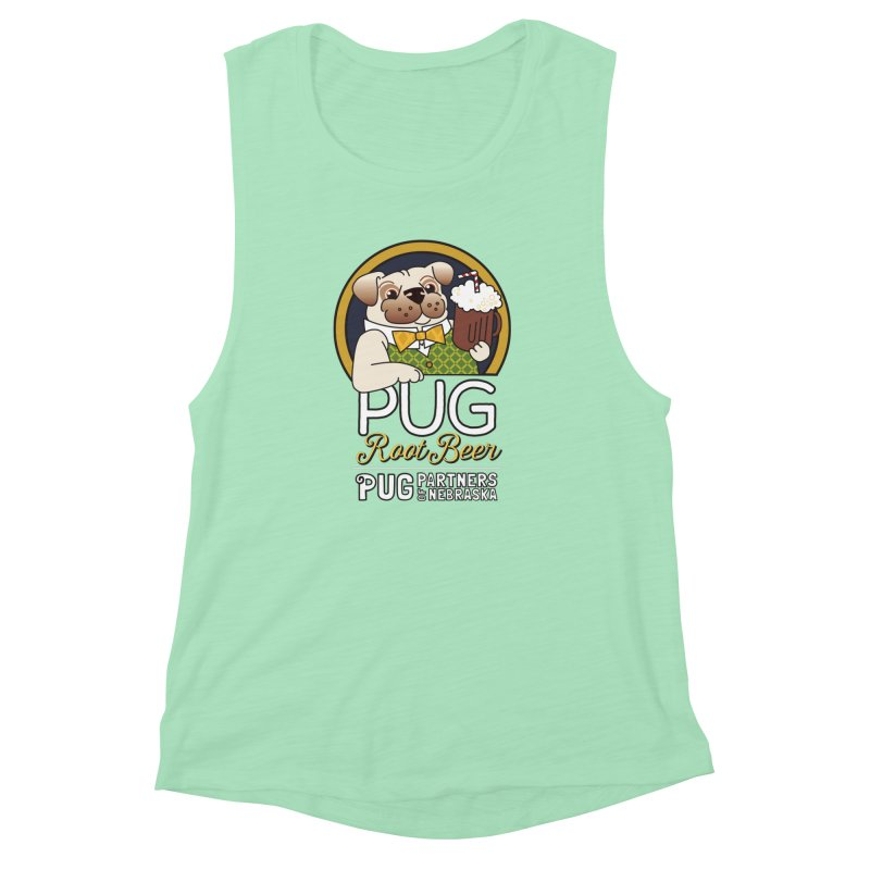 Pug Root Beer - Green Women's Muscle Tank by Pug Partners of Nebraska