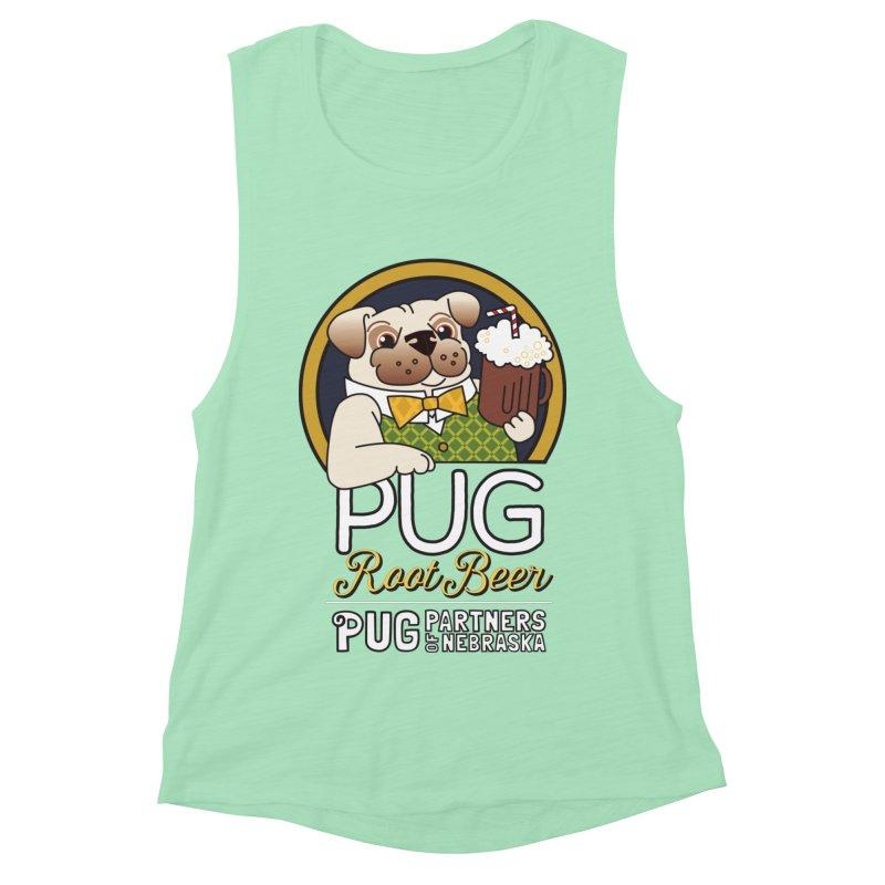 Pug Root Beer - Green Women's Muscle Tank by Pug Partners of Nebraska