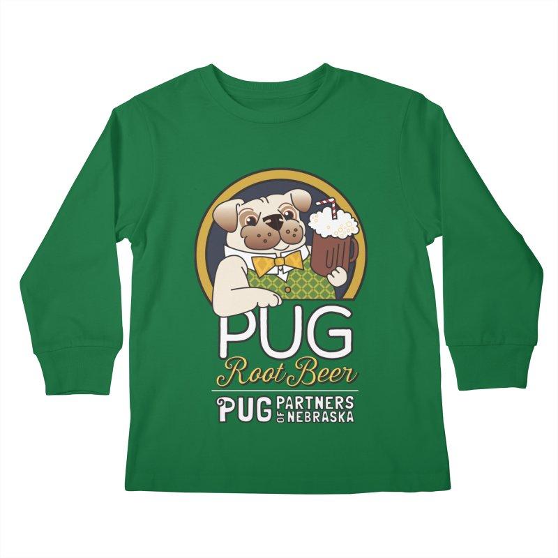 Pug Root Beer - Green Kids Longsleeve T-Shirt by Pug Partners of Nebraska