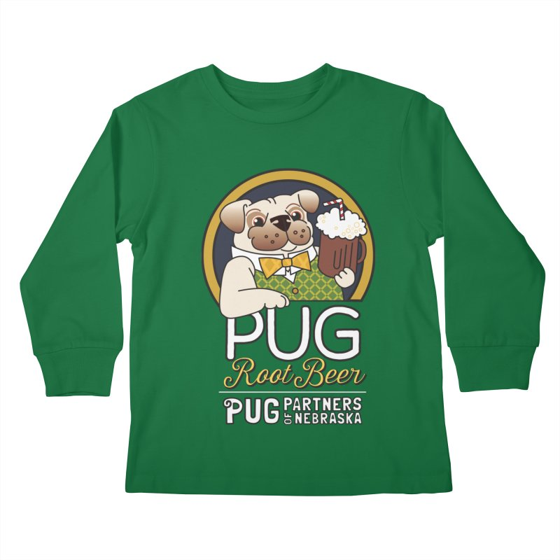 Pug Root Beer - Green Kids Longsleeve T-Shirt by Pug Partners of Nebraska