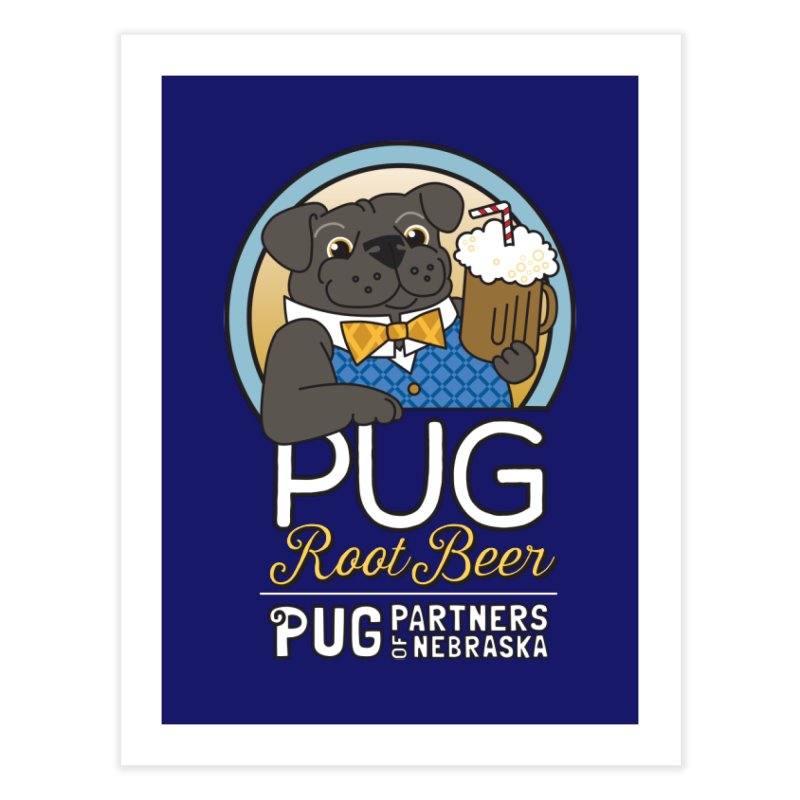 Pug Root Beer - Blue Home Fine Art Print by Pug Partners of Nebraska