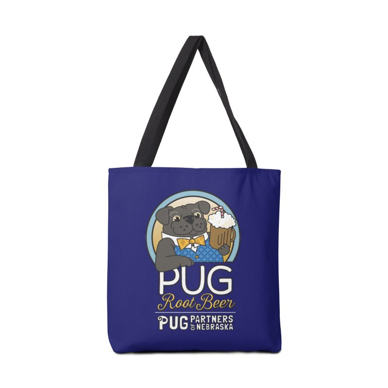 Pug Root Beer - Blue Accessories Tote Bag Bag by Pug Partners of Nebraska
