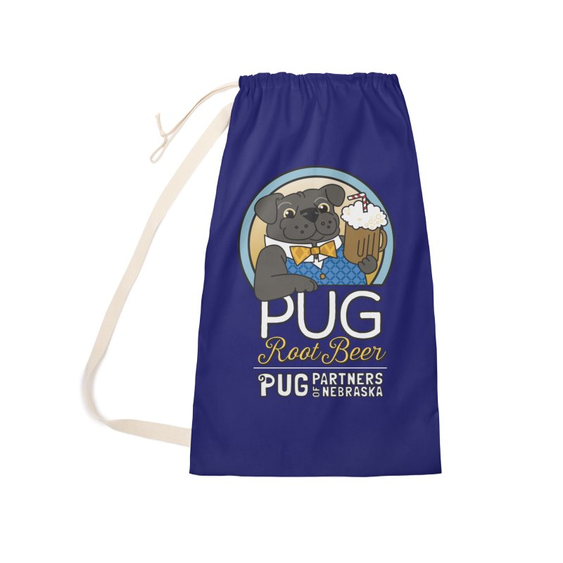 Pug Root Beer - Blue Accessories Laundry Bag Bag by Pug Partners of Nebraska