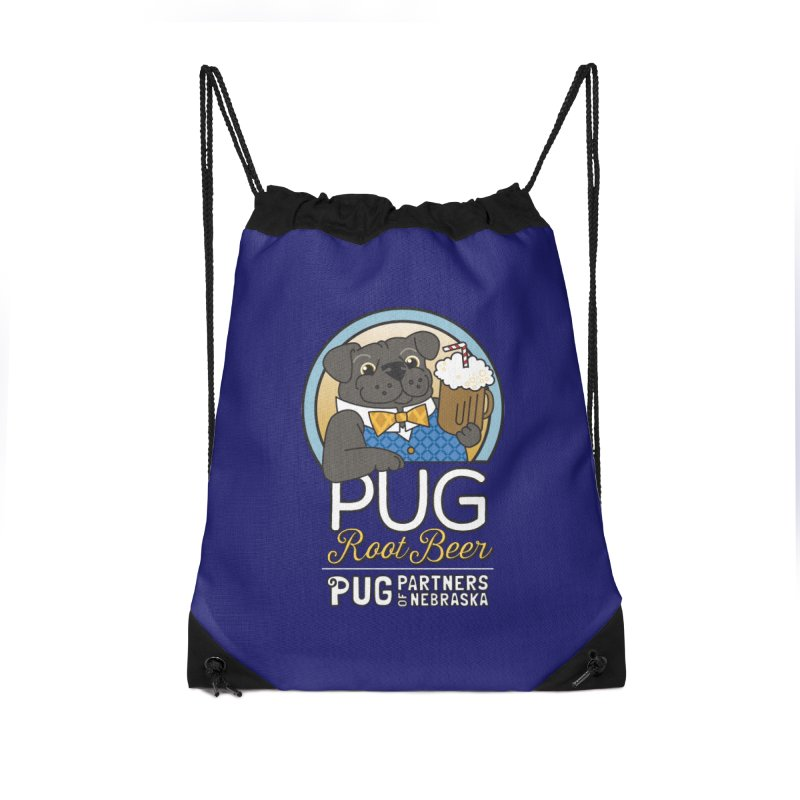 Pug Root Beer - Blue Accessories Drawstring Bag Bag by Pug Partners of Nebraska