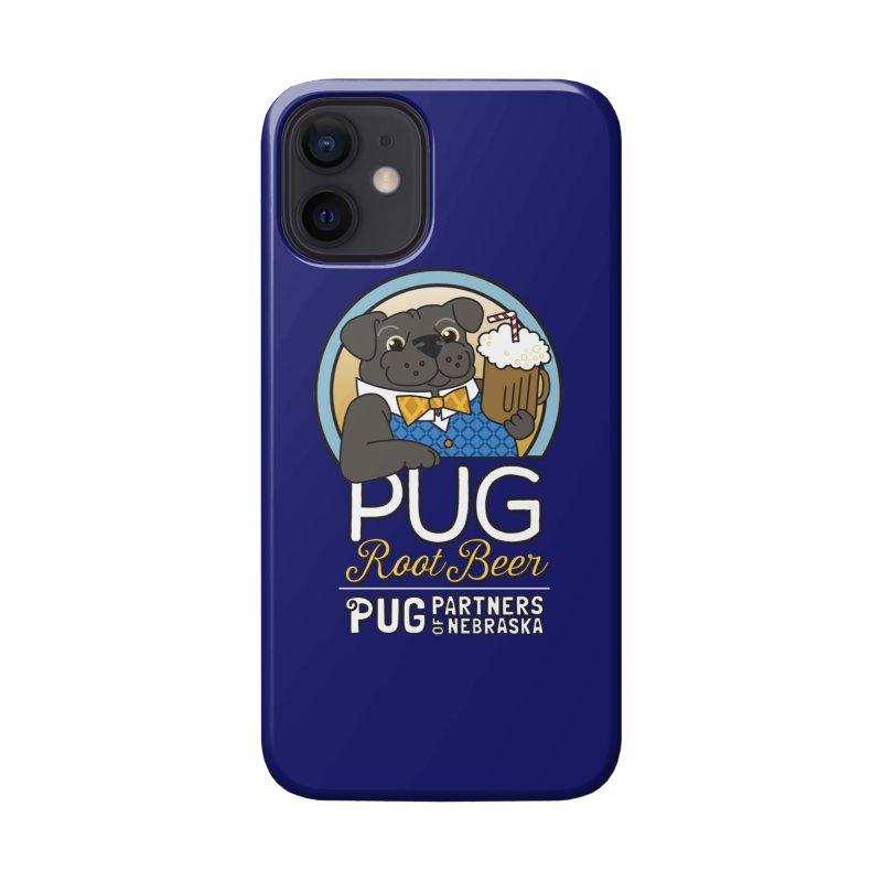 Pug Root Beer - Blue Accessories Phone Case by Pug Partners of Nebraska