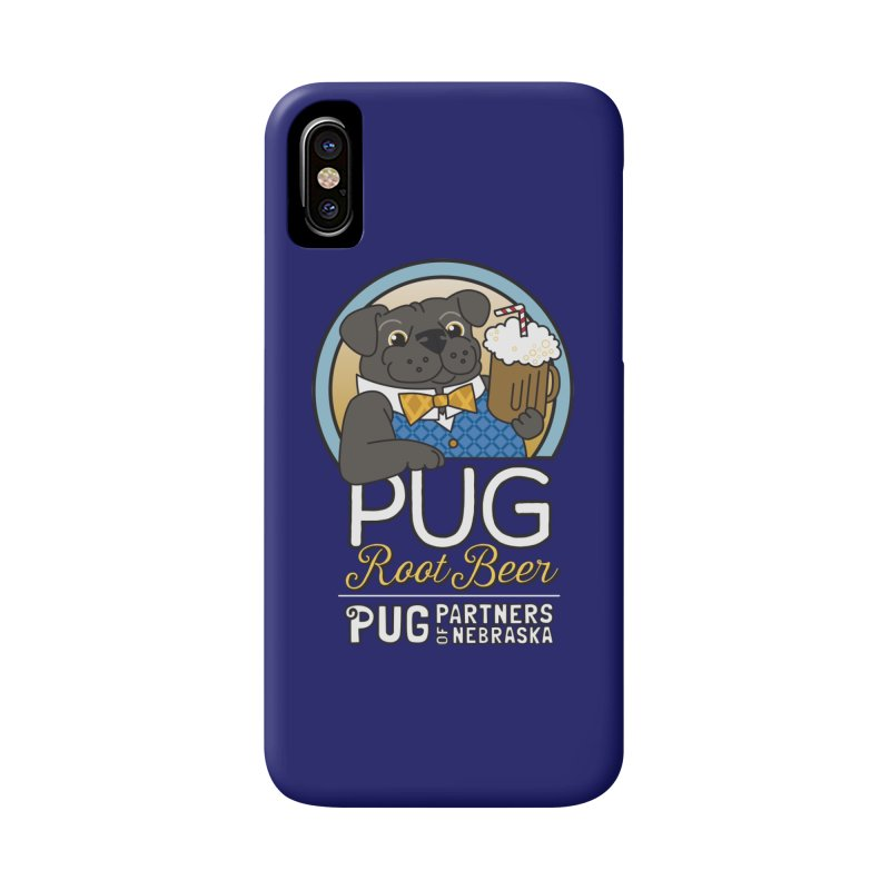 Pug Root Beer - Blue Accessories Phone Case by Pug Partners of Nebraska