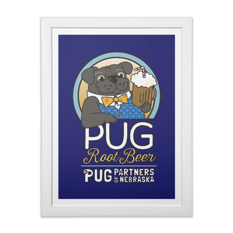 Pug Root Beer - Blue Home Framed Fine Art Print by Pug Partners of Nebraska