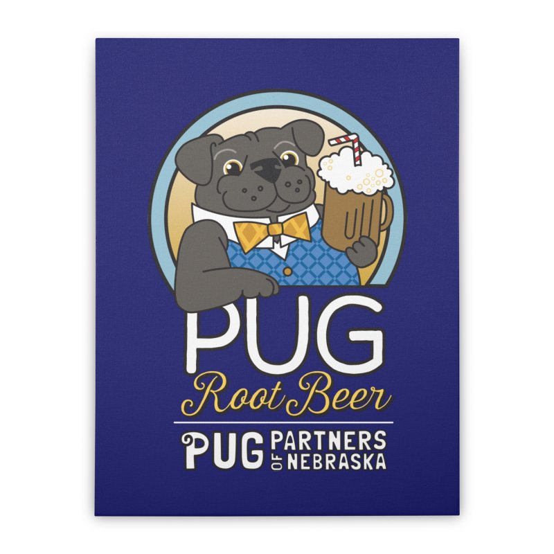 Pug Root Beer - Blue Home Stretched Canvas by Pug Partners of Nebraska