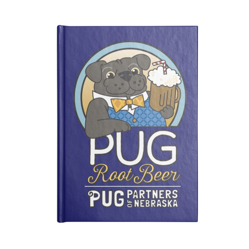 Pug Root Beer - Blue Accessories Blank Journal Notebook by Pug Partners of Nebraska