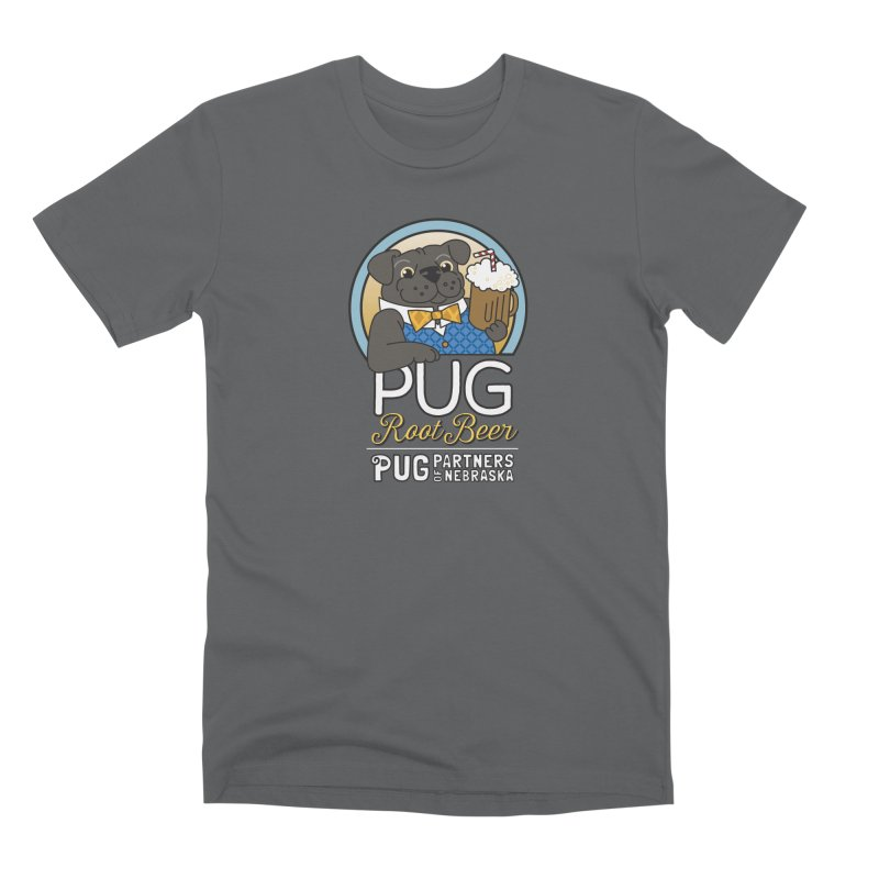 Pug Root Beer - Blue Men's T-Shirt by Pug Partners of Nebraska