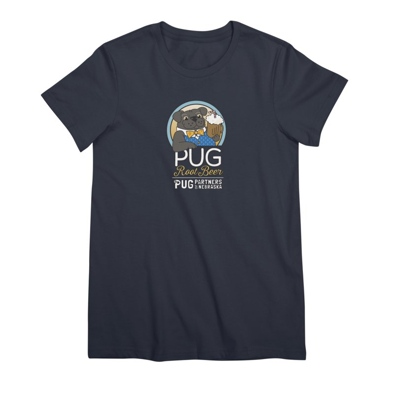 Pug Root Beer - Blue Women's Premium T-Shirt by Pug Partners of Nebraska