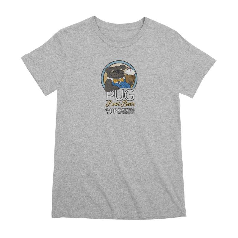 Pug Root Beer - Blue Women's Premium T-Shirt by Pug Partners of Nebraska