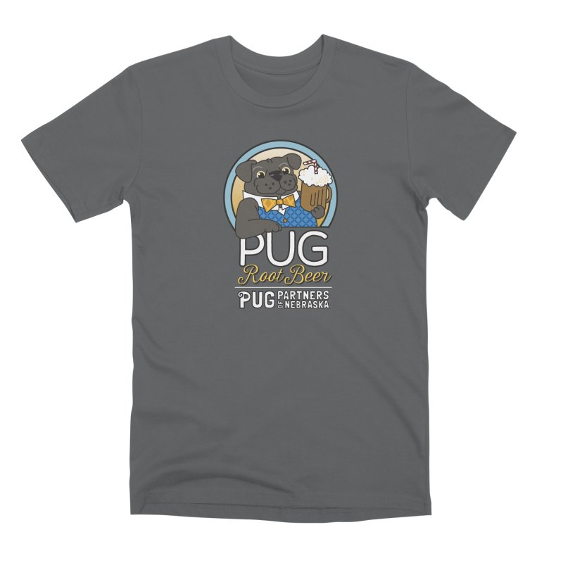 Pug Root Beer - Blue Men's Premium T-Shirt by Pug Partners of Nebraska