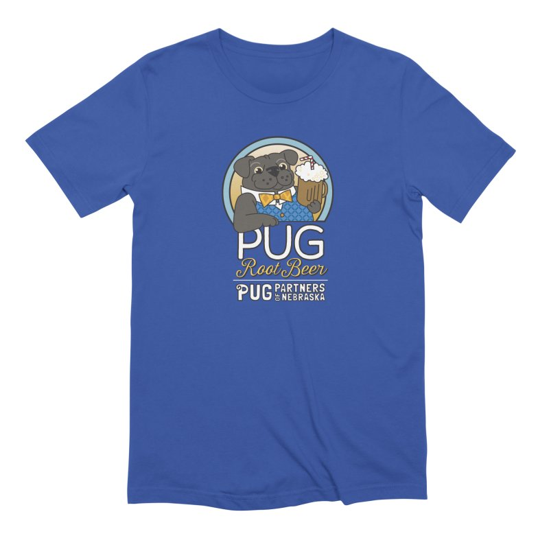 Pug Root Beer - Blue Men's Extra Soft T-Shirt by Pug Partners of Nebraska