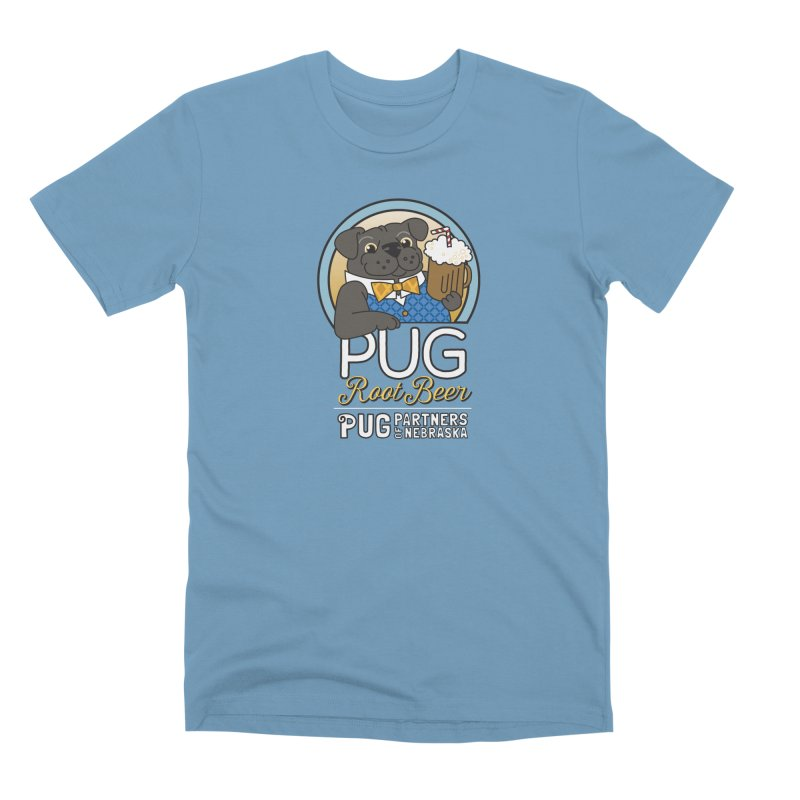 Pug Root Beer - Blue Men's Premium T-Shirt by Pug Partners of Nebraska