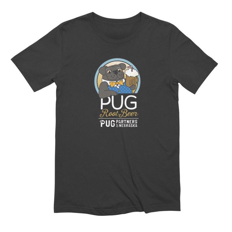 Pug Root Beer - Blue Men's Extra Soft T-Shirt by Pug Partners of Nebraska