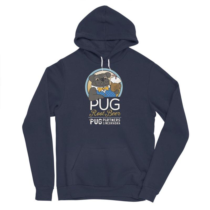 Pug Root Beer - Blue Women's Sponge Fleece Pullover Hoody by Pug Partners of Nebraska