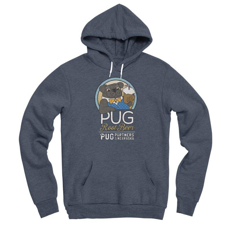 Pug Root Beer - Blue Men's Sponge Fleece Pullover Hoody by Pug Partners of Nebraska